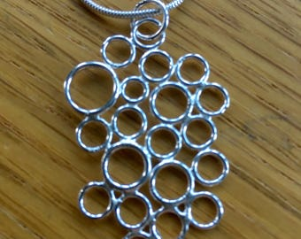 Silver bubbles necklace, silver bubbles pendant, silver circles, pendant, sterling silver, geometric, circles neclace, gift for her