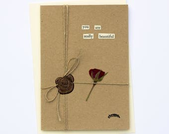You Are Beautiful Romantic Handmade Wax Seal Dried Flower Greetings Card