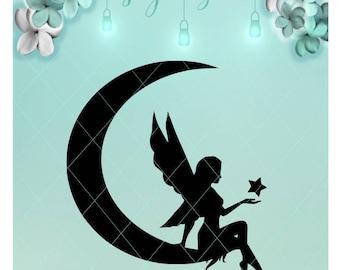 Fairy Moon / Fairy Star / Fairy Svg / Moon Svg / Mason Jar / Night Light / Fairy Dxf / Moon Dxf / Fairy Png / Moon Png