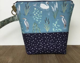 Project Bag, Knitting Bag, Knitting Project Bag, Crochet Bag, Wedge Bag, Zippered Pouch Bag, Sock Knitting, Herons and Swans