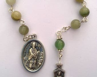 Catholic Single Decade Rosary Beads with St Patrick/St Bridget Medal & 4 Way Cross. Jasper and Aventurine Beads. Christian, Prayer Beads