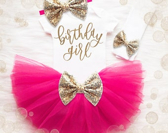 Birthday Girl Shirt 1st Birthday Outfit | Pink And Gold 1st Birthday Tutu Outfit | First Birthday Shirt | First Birthday Outfit | Pink Tutu