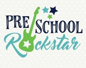First Day of Preschool SVG, Preschool Rockstar SVG file, Preschool SVG design, Boys Preschool Shirt Iron on file, First Day of School