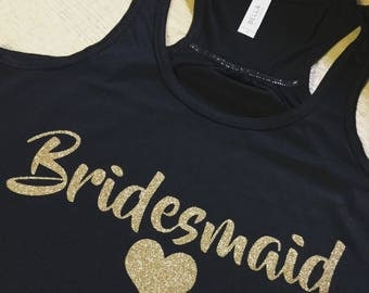 Bridesmaid Tanks-Custom Bella Canvas Racerback with Gold Glitter-Bridal Party