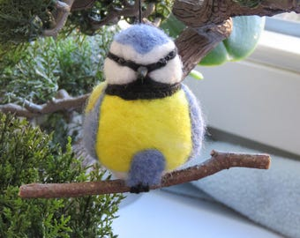 Blue tit felted garden bird.