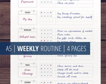 Weekly Routine Printables, Weekly Checklist, Flylady Basic Weekly Plan, Home Management Planner Insert, Weekly Homework Planner, Habits