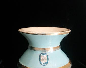 Blue Vase, Viroflay Ceramics, Porcelain Vase, Bulbous, Pale Blue, Gold, French, Antique Vase