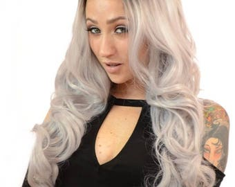 Gigi Long Curly Lace Front Wig in Five Rooted Pastel Shades | Available in Grey, Pink, Peach, Blue and Green