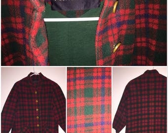 1960s Montaldo's MOD Winter Jacket, Red & Green Plaid Peacoat with Three-Quarter Sleeves