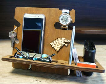 Wooden Docking Station Phone Stand Wooden Organizer Dads Gift Wood Docking Stand Custom Docking Station Boyfriend Gift Husband Gift For Him