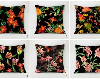 Flower pillow cover Floral pillow case leaves pillow cover Decorative pillow  flower Throw pillow cover vintage flowers pillow nature pillow