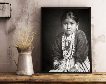 Native American Photography, The Silversmith's Daughter, Navajo Indian Girl Portrait, Indigenous American, 1910, New Mexico