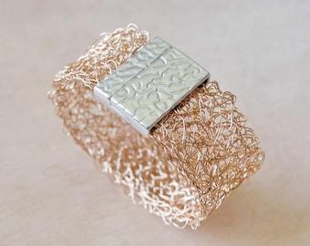 Bronze bracelet crochet crocheted Wire Bracelet wide crochet bracelet wire jewelry bracelet bangle crochet