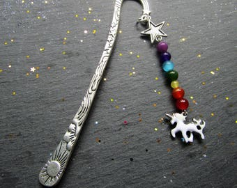 Rainbow Unicorn Bookmark with semi-precious beads, Unicorn bookmark, Rainbow Bookmark, Unique bookmark, Bookmark, Gift for unicorn Lover,
