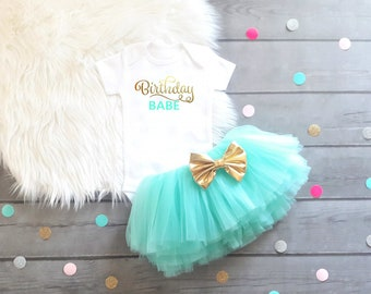 First Birthday Outfit 1st Birthday Outfit Girls First Birthday Outfit Girls 1st Birthday Outfit Aqua Gold Birthday Outfit Birthday Tutu