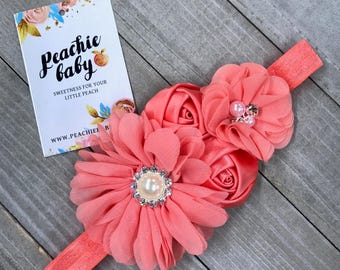 Coral Baby Flower Headband for Babies Newborns - Newborn Photo Prop - Baby Hair Accessories Birthday Party Outfit