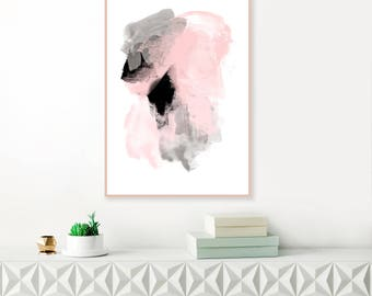 Abstract Art, Pink and Grey Abstract Art, Pale Pink and Grey Painting, Large Downloadable Art, Modern Printable Wall Art, Original Art
