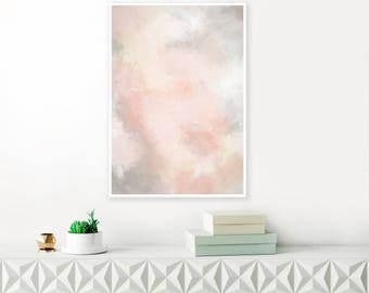 Blush Pink and Grey Painting, Pink Abstract Art, Pink Wall Art, Pale Pink Watercolour and Acrylic, Extra Large Wall Art, Printable Art