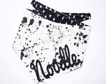 The Noodle | Dog Bandana | Monochrome Bandana | Reversible Bandana | Personalised Bandana