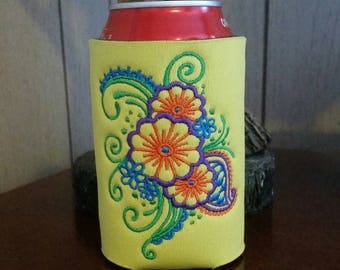 Paisley Can Cooler, Embroidered Can Cooler, Birthday Cozies, Embroidery Can Cooler, Cozies, Yellow Paisley Can Cooler, Paisley Cozies