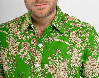Mens 100% Cotton Short Sleeve Slim Fit Shirt Green Tree Floral Peacock Print Lightweight Material