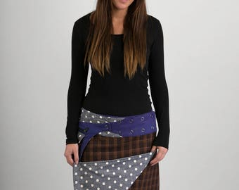 Reversible Brown Check Wool Grey White Polka Denim Cotton Skirt Purple Wool Belt with detachable Pocket Long Length