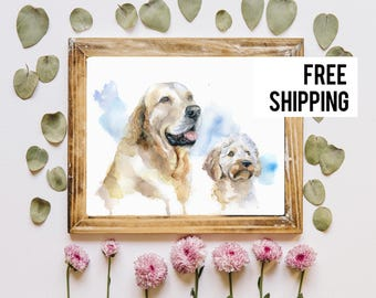 Custom Dog Portrait, Original Watercolor Dog Painting, Pet Portrait, Custom Pet Painting, Watercolor Dog Illustration, Gift For Dog lover