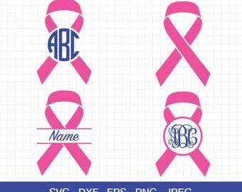 Cancer awareness ribbon SVG, Cancer awareness SVG, Breast cancer ribbon svg, Monograms Frame file for Cricut & Silhouette