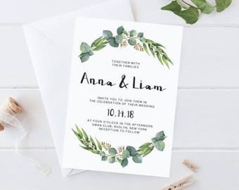 DIY Wedding Invite Template Eucalyptus Invite Greenery Wedding Invitation Printable Eucalyptus Wedding Invitation Green Eucalyptus Wreath