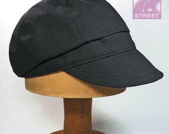 Black cotton newsboy cap cycling cap compact crown design