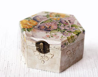 Wooden Storage Decoupage Box Handmade Jewelry Keepsake Beige Box With Violet Yellow Flowers Rustic Wood Decoration Home Decor
