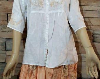 white Linen/ blouse summer blouse/elbow length sleeve shirt