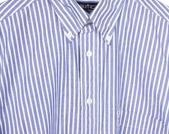 NAUTICA blue and white striped short sleeve button down shirt - oversized - mens L - XL