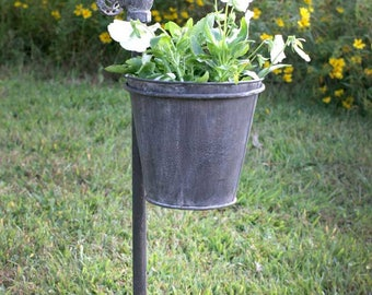 Water Faucet Garden Stake with Planter