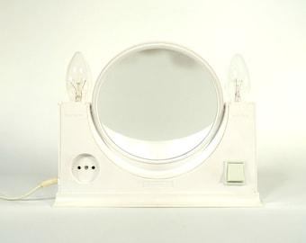 Vintage Vanity Mirror / Double Sided Mirror Lamp / Vanity Station / Space Age / Elma / Atomic / White Desk Mirror / 70s Yugoslavia
