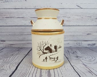 Vintage Farmhouse Barn Scene Ceramic Stoneware Cookie Jar Beige Speckles Storage Container Lid Canister Kitchen Counter Rustic Country Decor