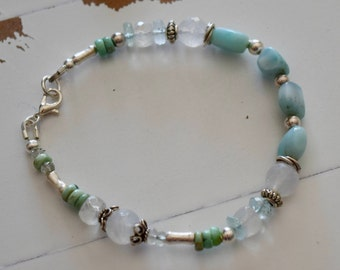Larimar, Turquoise, Aquamarine and Moonstone Bracelet~ Sterling Silver and Gemstone Bracelets~ Valentine's Gifts for Her~ Engagement Gifts~