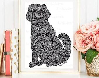 The year of the Dog, digital print, Printable Wall Art, Home decor, wall decor, Zentangle Dog, Printable prints, digital download, pet