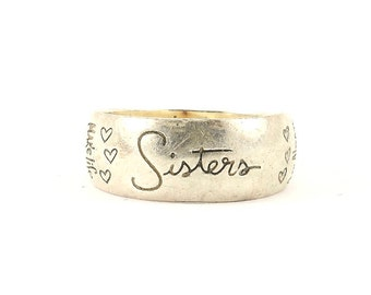 Vintage Sisters Engraved Ring 925 Sterling Silver RG 1174-E
