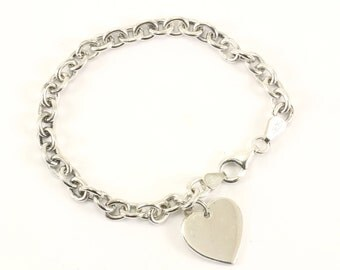 Vintage Italy Heart Charm Chain Bracelet 925 Sterling BR 2184