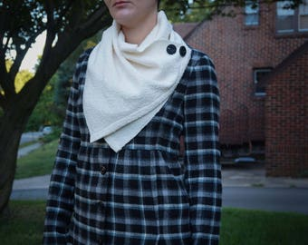 Soft Ivory Handwoven Cowl - Luxury Cotton Cowl with Faux Buttons and snaps
