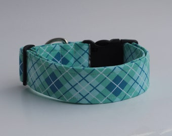 Blue and Teal Plaid Dog Collar