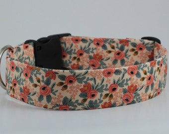 Rosa Floral in Peach Dog Collar