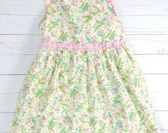 Toddler girl dress, floral toddler dress, 5T green dress, 5T pink dress, 5T floral dress, vintage floral dress, vintage toddler clothing