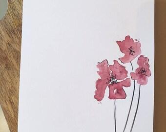 Handmade Watercolor Flower Card/Stationary