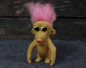Vintage Troll Monkey from the 1960s, Rare Royalty Designs of Florida Troll Doll