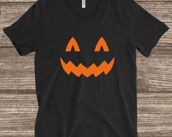 Halloween Jack-O-Lantern Shirt - Funny Halloween Shirt - V-neck Halloween Shirt  - Women's Halloween Shirt - Halloween Party Shirt - Pumpkin