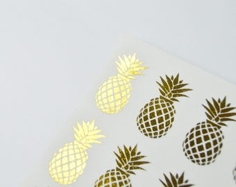 Gold Pineapple Stickers - Cute Gold Stickers - Pineapple Planner - Tropical Planner Stickers - Gold Summer Stickers - Rose Gold Stickers