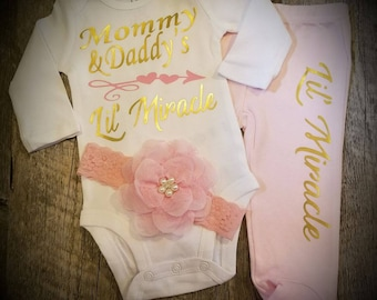 Newborn, Baby Girl, Going Home Outfit, Bodysuit, Boy Baby Shower, Gift, Monogrammed With Name, Mommy and Daddy's Lil' Miracle