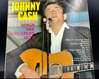 JOHNNY CASH RECORD - Sings The est Hits - Rare Vintage Original Vinyl Record - Awesome Condition! -  !, Sale